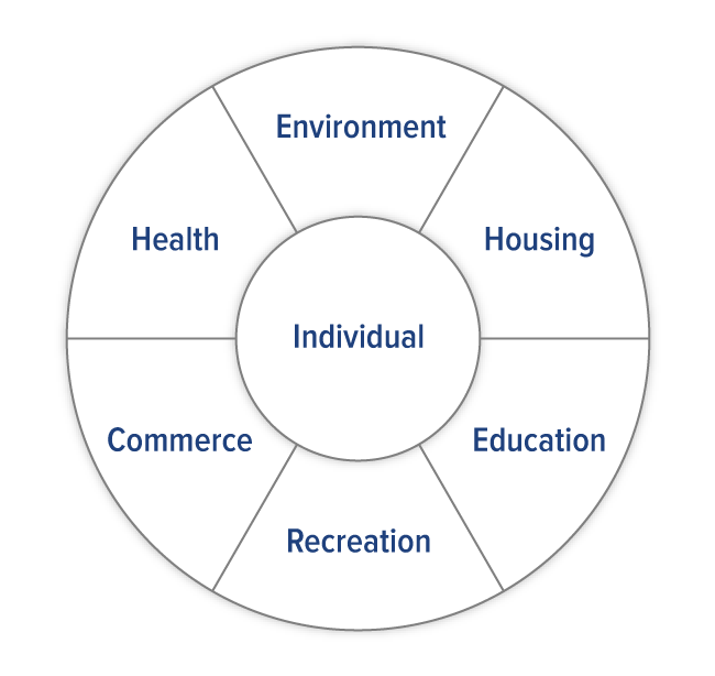 diagram of social service centered around the individual